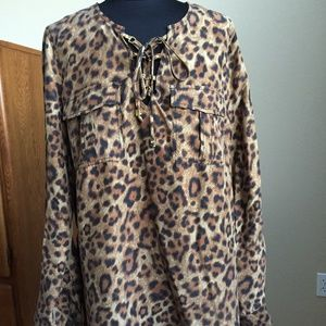 Michael Kors Animal Print Silk Lace-up Tunic M